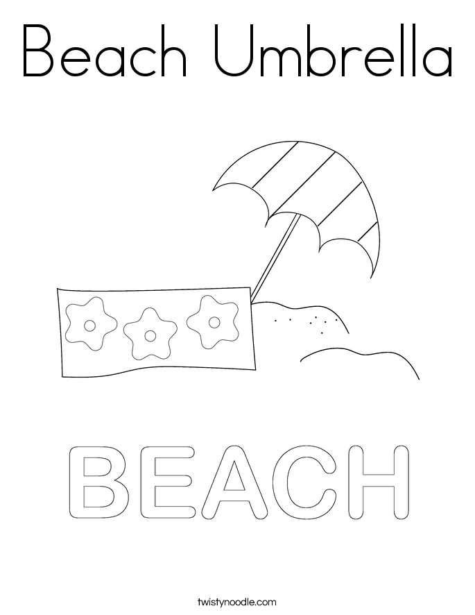 Beach Umbrella Coloring Page Twisty Noodle