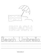 Beach Umbrella Handwriting Sheet