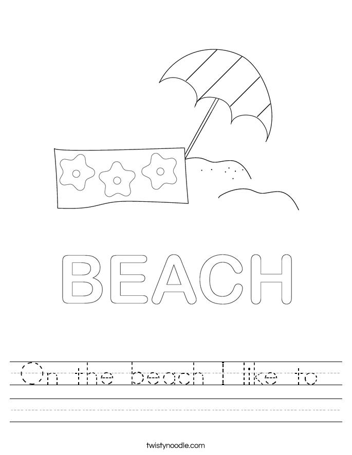 On the beach I like to  Worksheet
