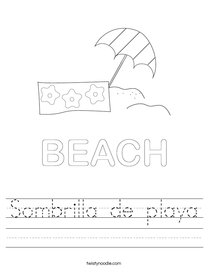 Sombrilla de playa Worksheet