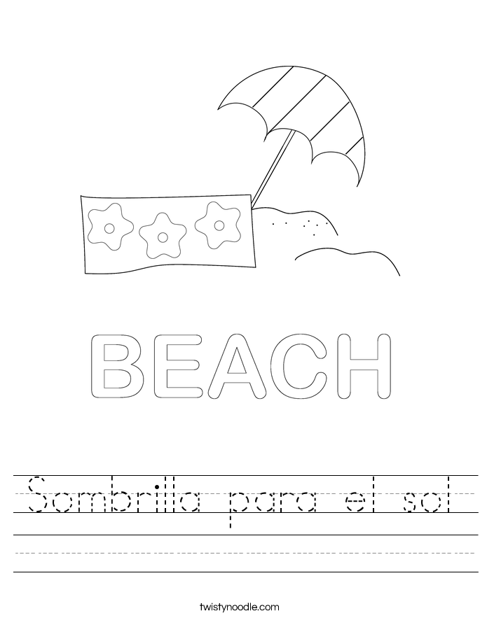 Sombrilla para el sol Worksheet