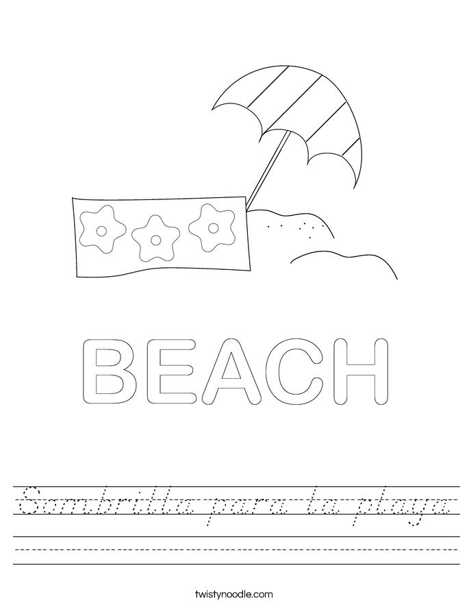 Sombrilla para la playa Worksheet