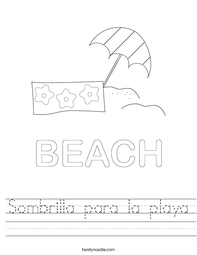 Sombrilla para la playa Worksheet