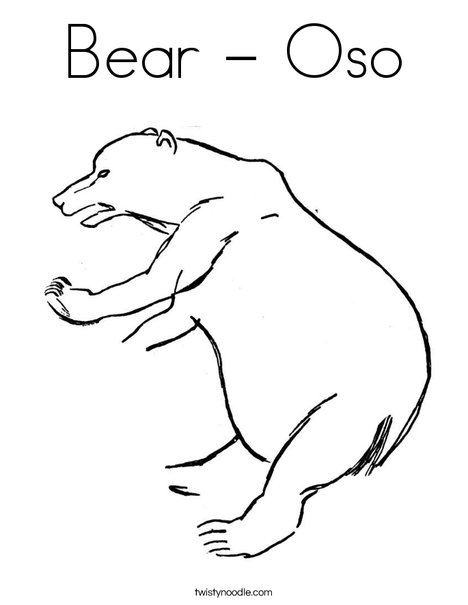 Bear Oso Coloring Page Twisty Noodle