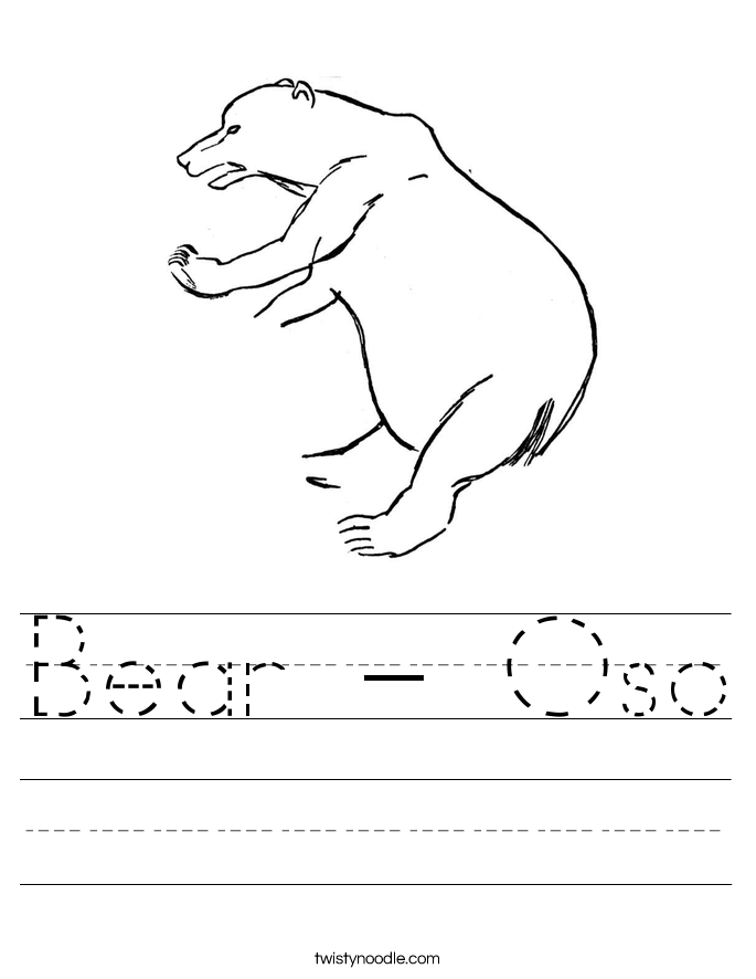 Bear - Oso Worksheet