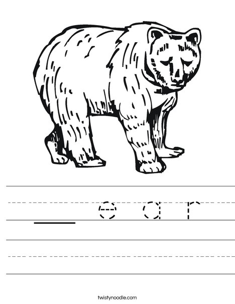 Grizzly Bear Worksheet