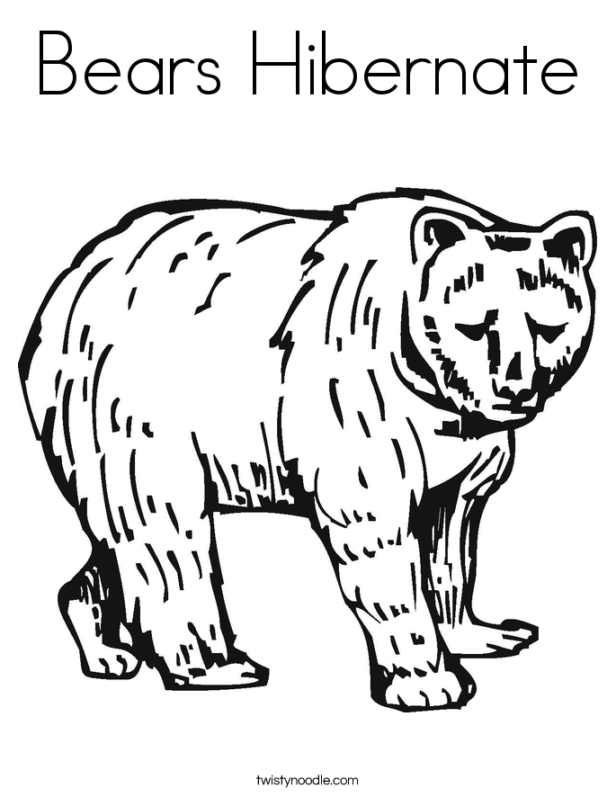 Hibernating Bear Coloring Page Coloring Page Hibernation Bear