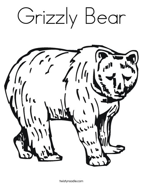 Grizzly Bear Coloring Page Twisty Noodle