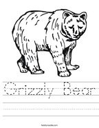 Grizzly Bear Handwriting Sheet