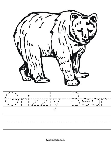 Grizzly Bear Worksheet - Twisty Noodle