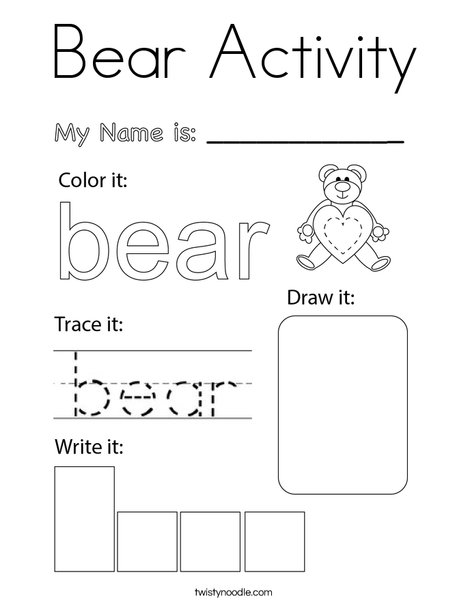 Bear Activity Coloring Page