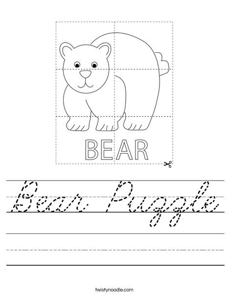 Bear Puzzle Worksheet