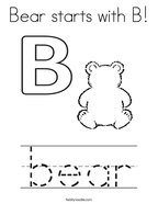 Bear starts with B Coloring Page