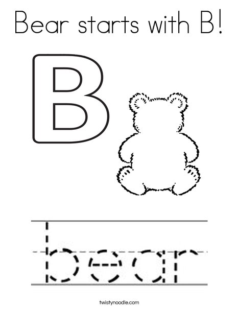 Bear starts with B! Coloring Page
