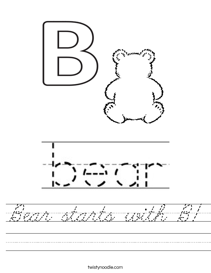 Bear starts with B! Worksheet