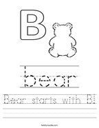 Bear starts with B Handwriting Sheet