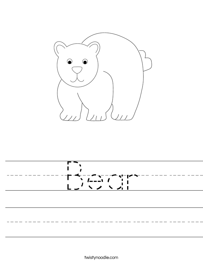 Bear Worksheet - Twisty Noodle