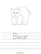 Bear Handwriting Sheet