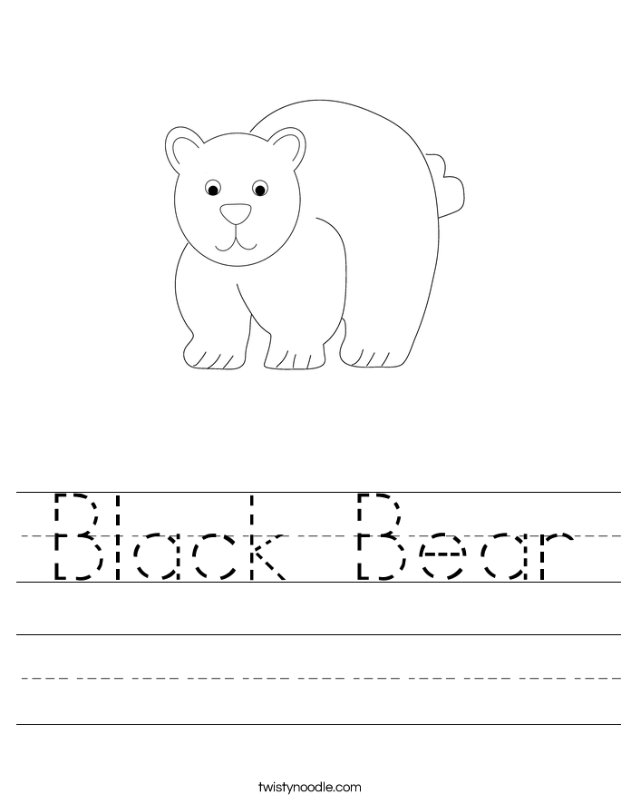 Black Bear Worksheet