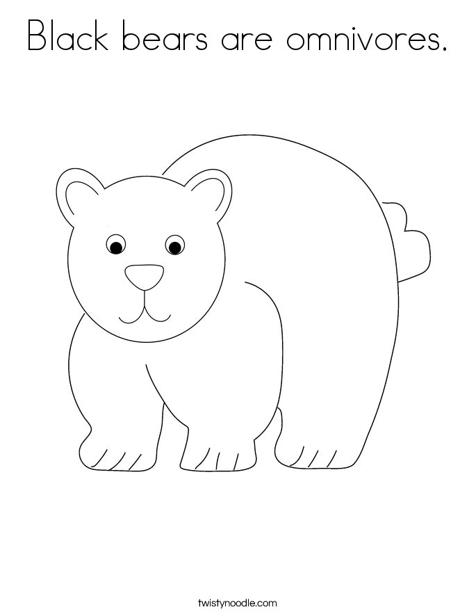 Black bears are omnivores. Coloring Page