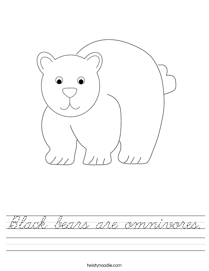 Black bears are omnivores. Worksheet
