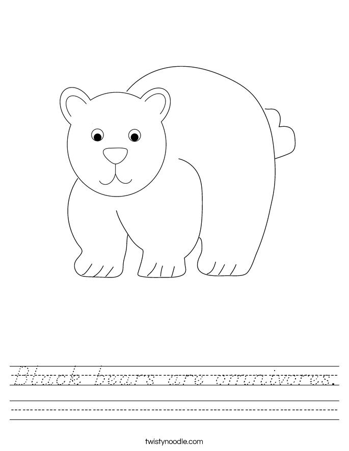 Black bears are omnivores. Worksheet
