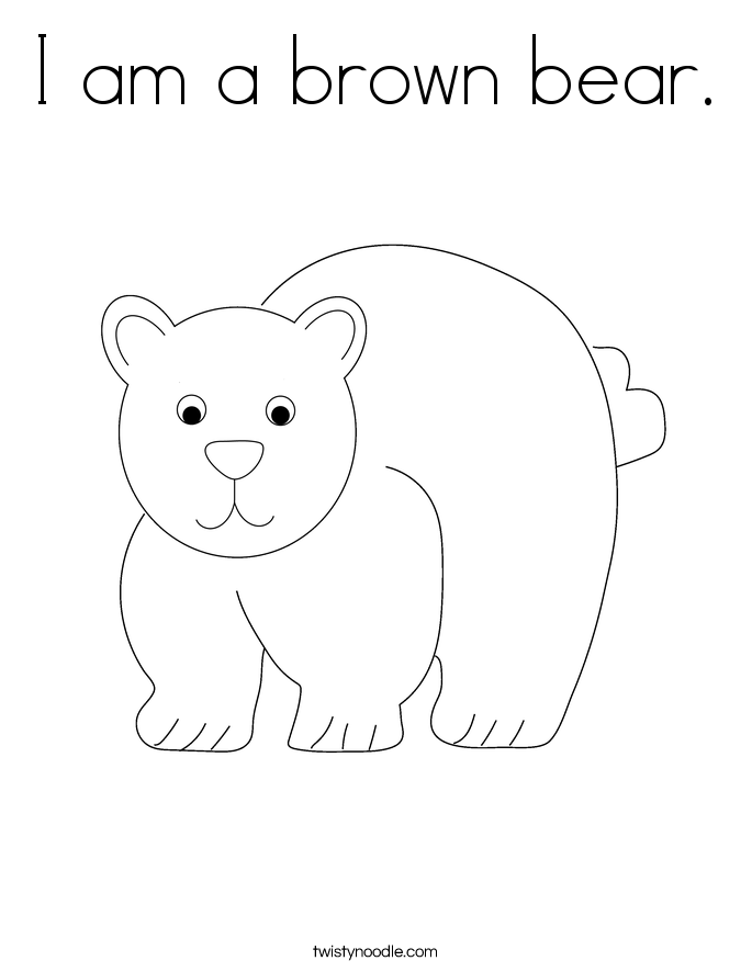 Free realist brown bear coloring pages ~ I am a brown bear Coloring Page - Twisty Noodle
