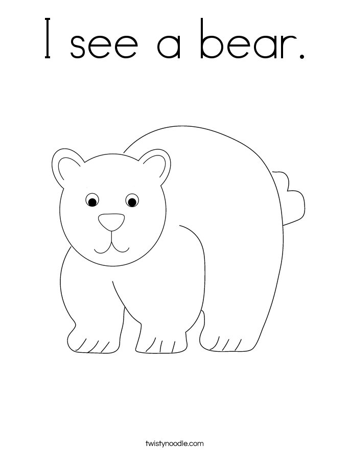 I see a bear. Coloring Page