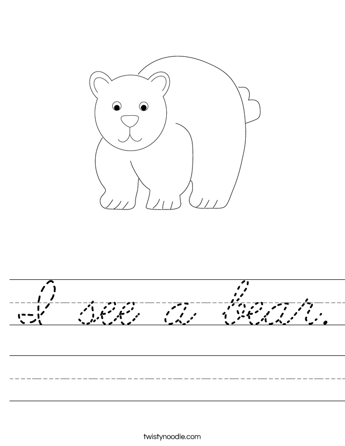 I see a bear. Worksheet