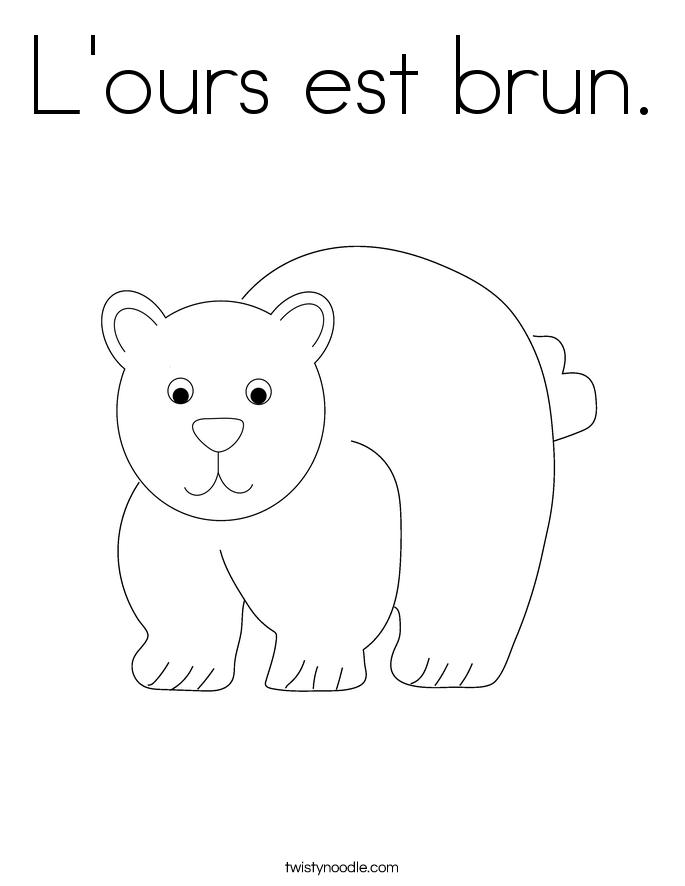 L'ours est brun. Coloring Page