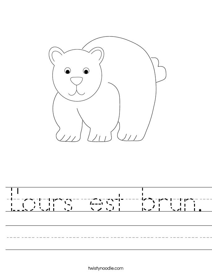 L'ours est brun. Worksheet