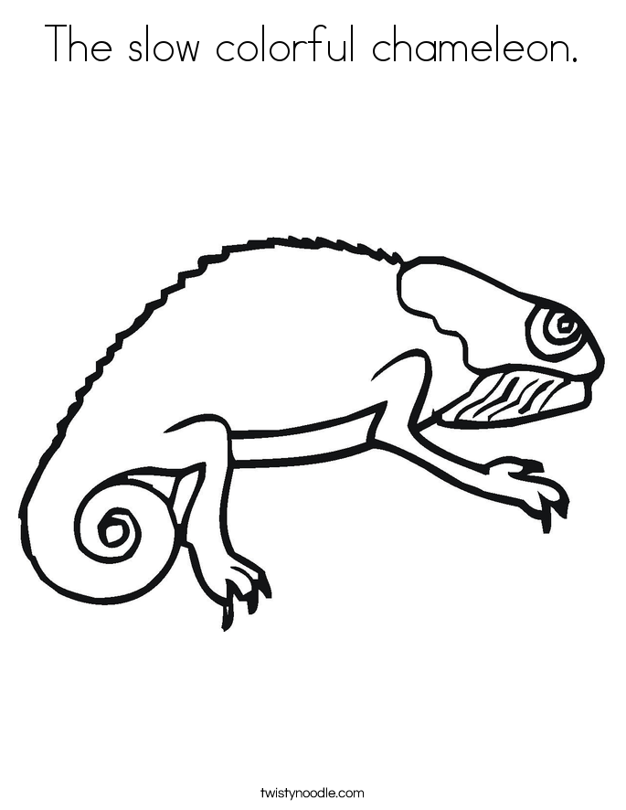 The slow colorful chameleon. Coloring Page