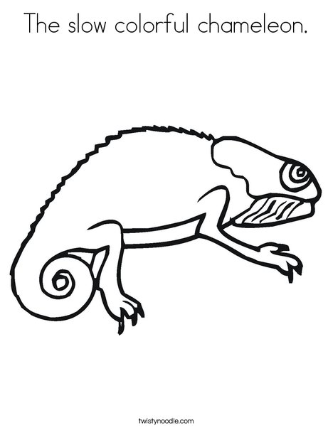 The slow colorful chameleon Coloring Page - Twisty Noodle