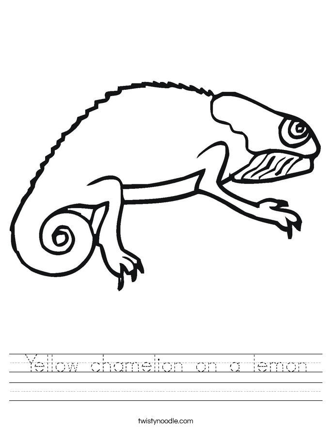 Yellow chamelion on a lemon Worksheet
