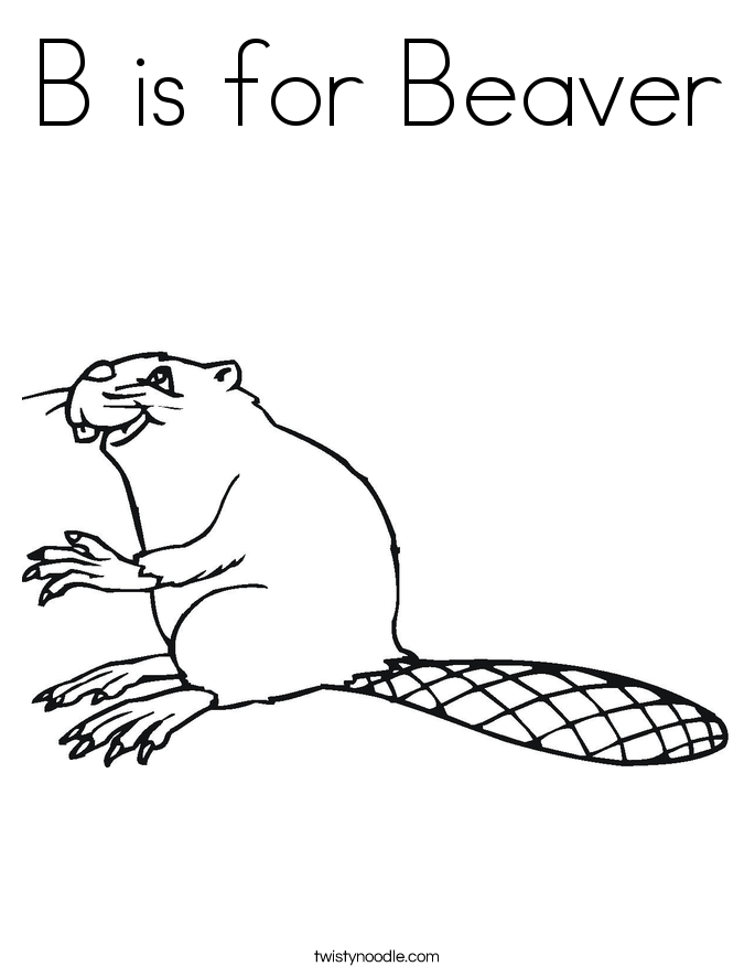 B is for Beaver Coloring Page