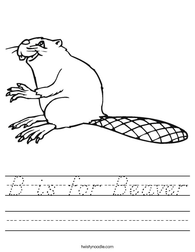 B is for Beaver Worksheet
