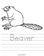 Beaver Handwriting Sheet