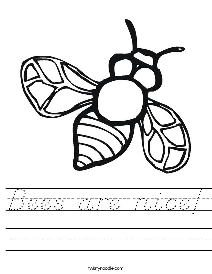 Bees are nice! Worksheet