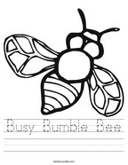 Busy Bumble Bee Handwriting Sheet