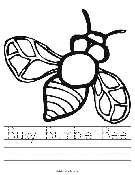 Bumble Bee Worksheet