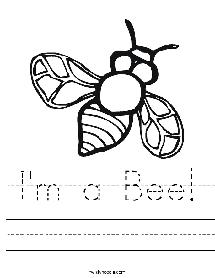 I'm a Bee! Worksheet