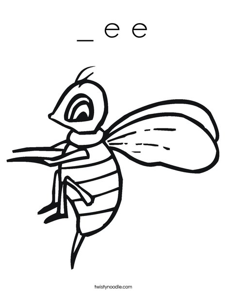 Yellow Bee Coloring Page