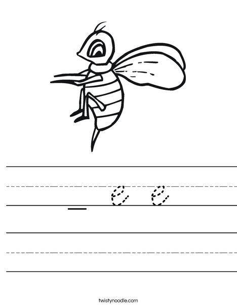 Yellow Bee Worksheet