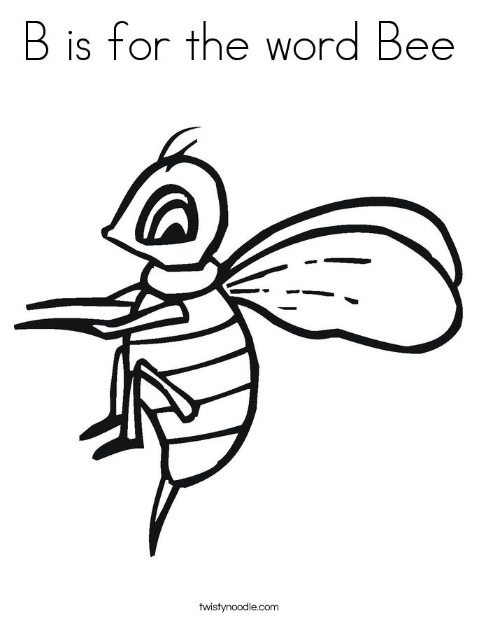 B is for the word Bee Coloring Page - Twisty Noodle