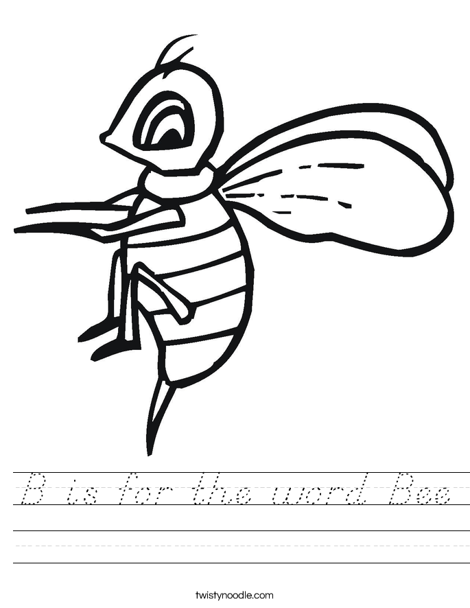 B is for the word Bee Worksheet