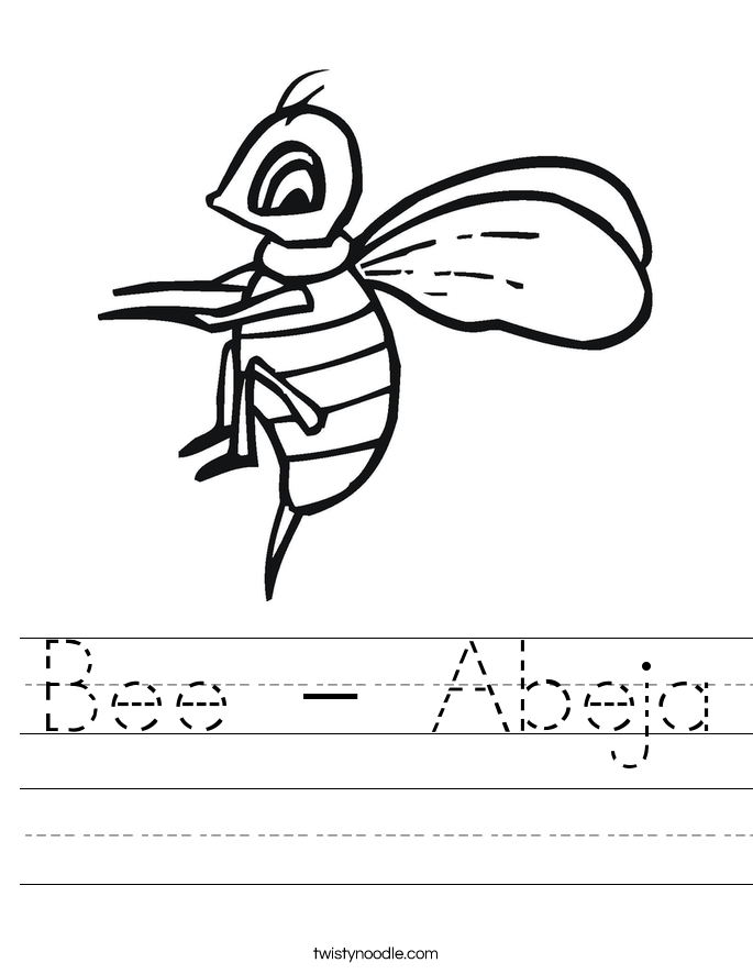 Bee - Abeja Worksheet