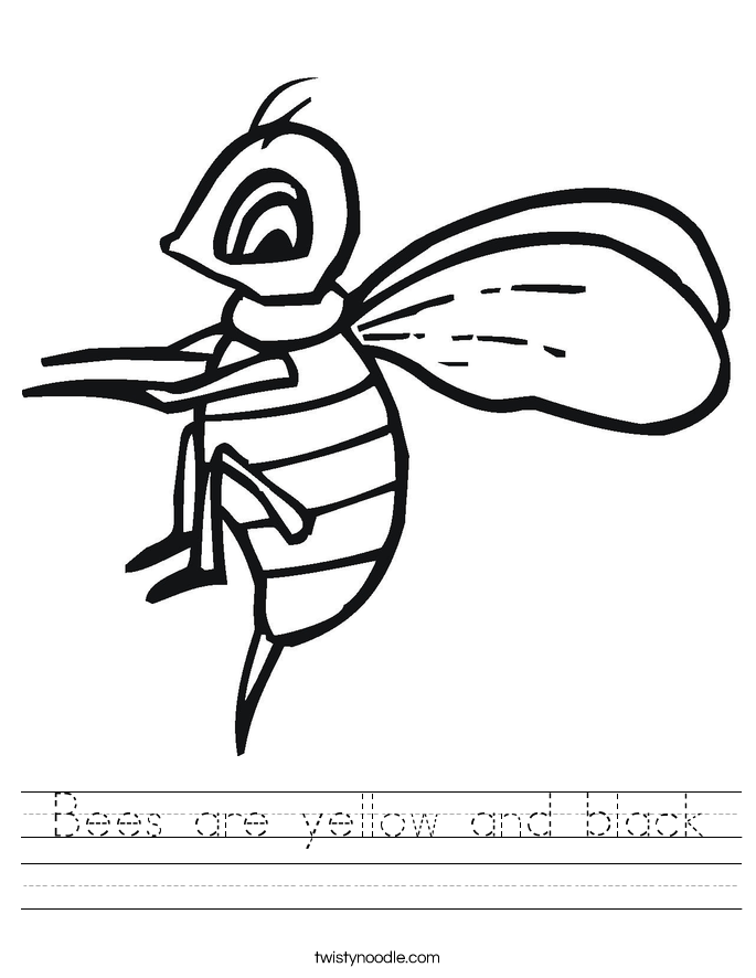 Bees are yellow and black Worksheet