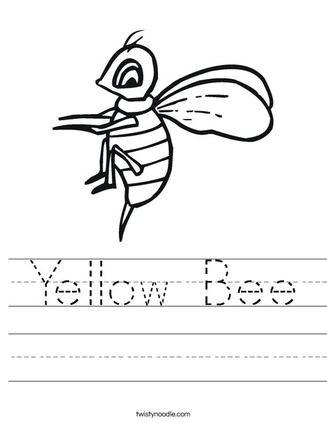 Yellow Bee Worksheet