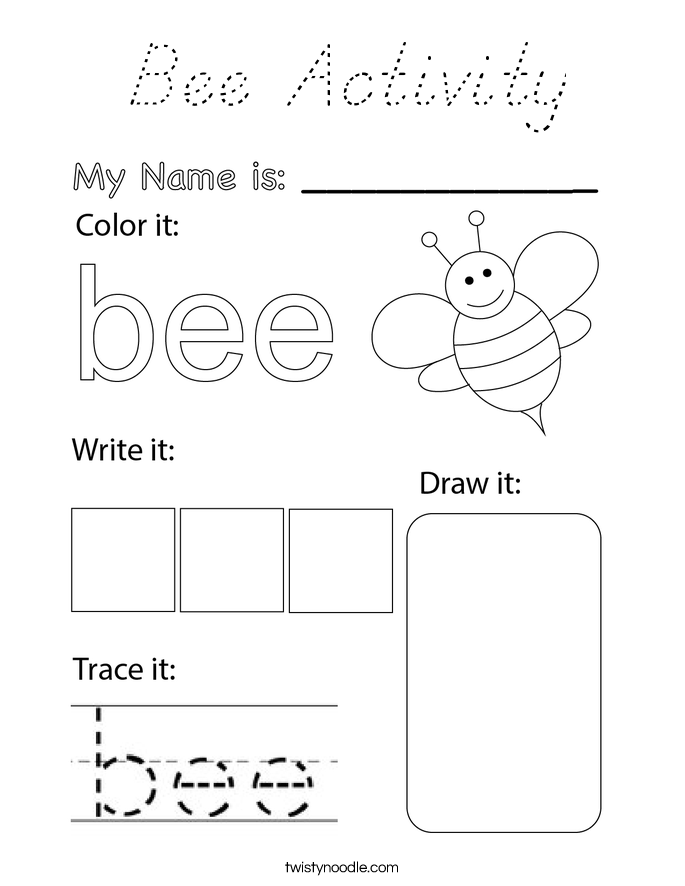 Bee Activity Coloring Page