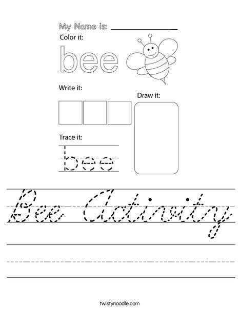 Bee Activity Worksheet